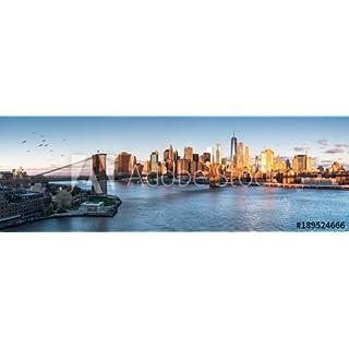 adrium Alu-Dibond-Bild 120 x 40 cm:East River mit Blick auf Manhattan und die Brooklyn Bridge, New York, USA, Bild auf Alu-Dibond