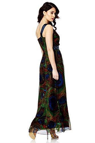 Femmes Robe Maxi Strass Ornementé Paillette Diamant Bal Soirée Drapé Robe Multicolore