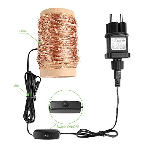 Adapter Für Weihnachtsbeleuchtung.Le 20m Led Lichterkette Drahtlichterketten 200 Leds Wasserdicht