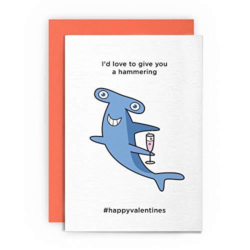Valentinstagskarte – Love to Give You A Hammering – Lustige humorvolle Grußkarte für Ihn, Freund, Freundin, Ehemann, Verlobte, Schwulen, Heiligen Amor, Valentinstag