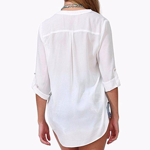 QIYUN.Z Art Und Weise V-Ausschnitt Roll-Up Lange Hülse Frauen Chiffon- Hemden Bluse Größe M-6XL Weiß