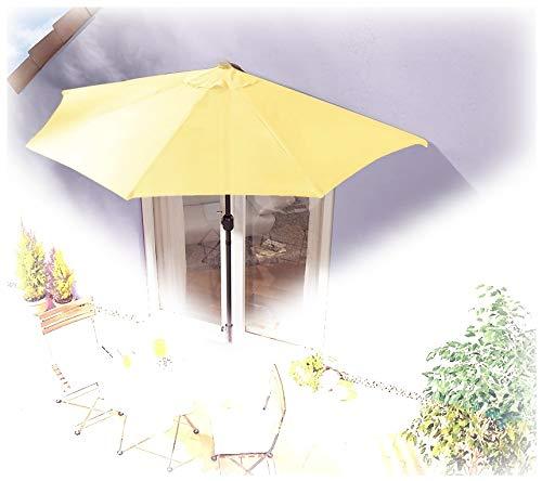 IMC Sonnenschirm halbrund gelb Balkon mit Kurbel Wandschim Marktschirm Balkonschirm Terrasse Garten Sonnenschutz Halbschirm halb Polyester
