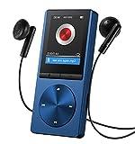 """OMORC 130AD - Lettore MP3 Player Portatile con Fascia Sportiva, 8GB Schermo 1.8"""" Radio FM Registrazione, 24 Lingue, Lega di Alluminio. Blu"""