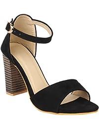 Glitzy Galz Black Ankle Strap Buckled Block Heel