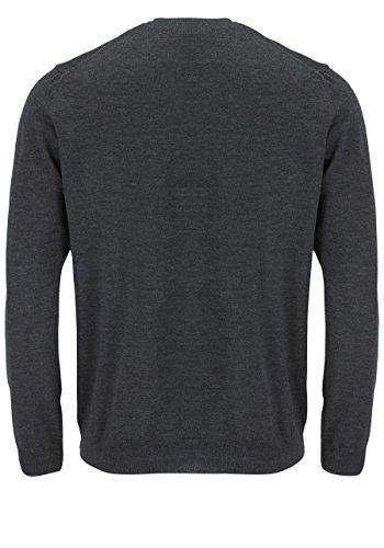 OLYMP Strick Pullover V-Ausschnitt extrafeine Merinowolle mittelrot Graphite