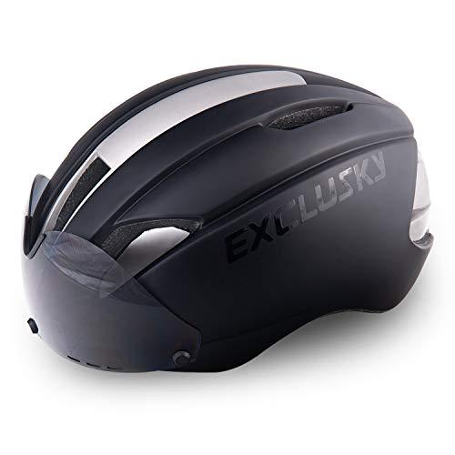 Exclusky Fahrradhelm Fahrrad Erwachsene Fahrrad Helme 57 - 61 cm mit Brille (black)