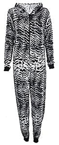 Fashion 4 Less New Womens Hooded Animal Zebra Print Onesie