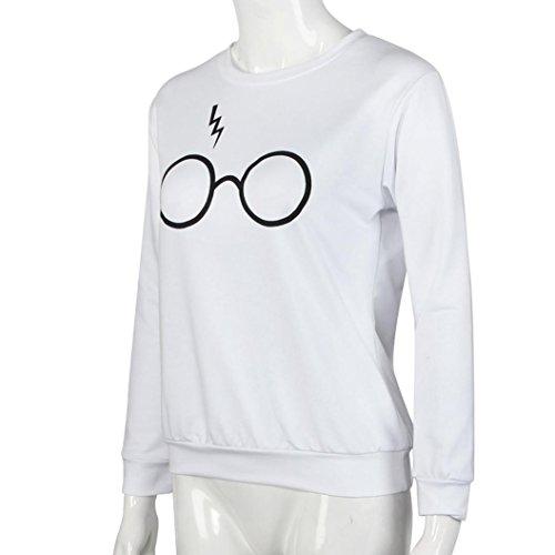 Ouneed®Femme Lunettes Imprime Sweat- Shirt sans capuche Taille 42-48 Blanc