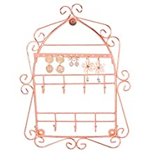 Simmer Stone Jewelry Organizer, Wall-Mounted Jewelry Holder for Necklaces, Earrings, Rings and Bracelets, Decorative Wire Jewelry Hanger Display Rack, Rose Gold