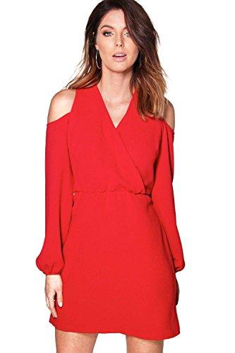 Damen Rot Lola Elegant Geschnittenes Kleid Aus Webmaterial Mit Ausgeschnittenen Schultern Rot