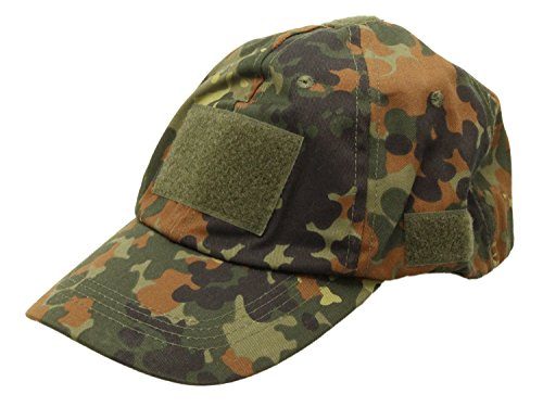 MFH Tactical Cap / Feldmütze mit 5 Klettflächen, verstellbar - flecktarn