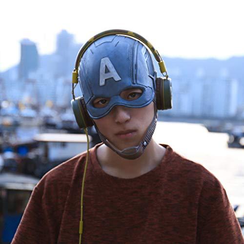 Deluxe Ultron Erwachsenen Für Kostüm - QWEASZER Marvel Avengers Captain America Latex Maske Helm, Film Cosplay Halloween Kostüm Zubehör Deluxe Edition für Erwachsene Männer Kostüm,Captain America-59~62cm