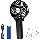 VersionTECH. Hand Held Fan,Desk fan,Portable USB Fan Mini Foldable Desktop Table Cooling Hand Fan, 3 Speeds Rechargeable Battery Operated Electric Fan with Metal Hook for Home Office Travel-Black