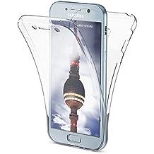 Samsung Galaxy A5 2017 Funda Carcasa Protectora 360 Grados de NICA, Movil Silicona Ultra-Fina Transparente, Doble Delantera torno a la protección, Cubierta Goma Bumper Cover Case, Color:Transparente