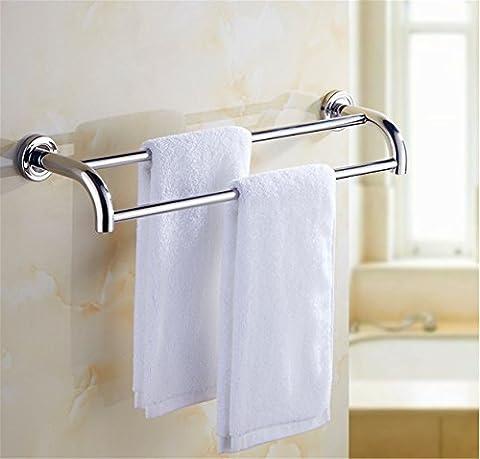 Pingofm de salle de bain en acier inoxydable double barre porte-serviettes de salle de bain Serviette Rack Accessoires de salle de bain, 50cm