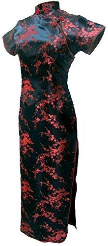 & Rot Jahrgang Chinesisch Abschlussball Kleid Cheongsam Lang Blumen Größe De 46 (Roter-teppich-themen-abschlussball)