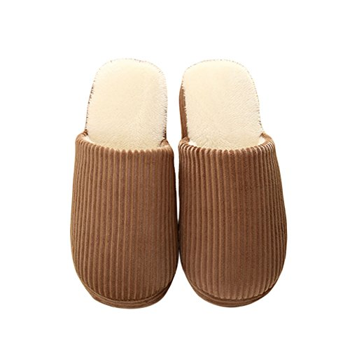 Meijunter Unisex Classic Accueil Coton Chaussures Chaud Non-slip Floor Chaussons brown