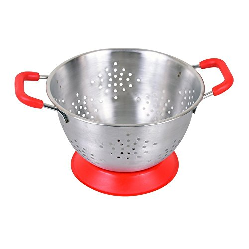 Kosma Edelstahl-Doppelgriff Deep Colander - Food-Sieb mit Non-Skid-Griffen und Anti-Skid-Basis in roter Farbe, 25cm Designer Pasta Sieb Deep Colander