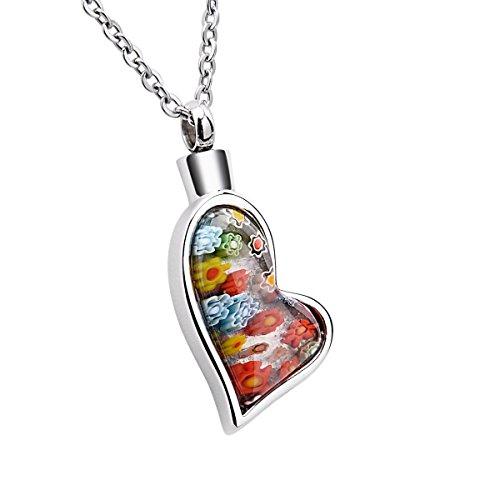 K-Y Herz-Urnenanhänger mit Halskette, farbige Muranoglas-Blumen, Edelstahl, Aschen-Anhänger als Schmuck-Andenken (Trauer Schmuck)