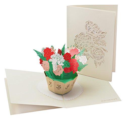 Liebevolle Karte zum Muttertag mit extra Seite für Grüße -- 3-seitige Klapp-Karte für ein kleines Dankeschön -- 3D Pop-Up Muttertagskarte mit Blumen-Strauß