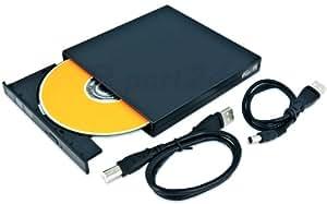 Graveur / lecteur DVD externe MSI Wind U100 U 100. Câble USB et câble d'alimentation inclus. Plat, légère, Slimline Design, en noir. Plug & Play. De e-port24®