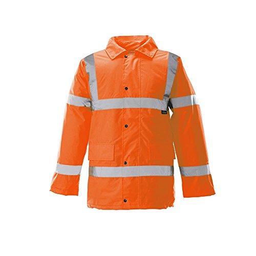 Hi Viz Wasserdichter Parka Padded Jacket Storm warme Workwear Herren Mantel Sicherheit - ORANGE with reflective strips