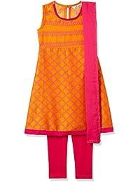 Karigari by Unlimited Girls' A Line Regular Fit Cotton Salwar Suit Set