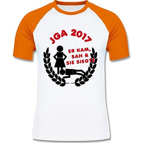 JGA Junggesellenabschied - Er kam, sah, sie siegte JGA 2017 - zweifarbiges Baseballshirt für Männer Weiß/Orange