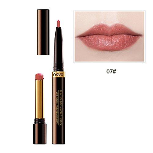 T-liner (ROPALIA 8 Farben 2 In 1 Multifunktions Drehen Lippenstift Wasserdichte Lip Liner + Lipstick Make-Up)
