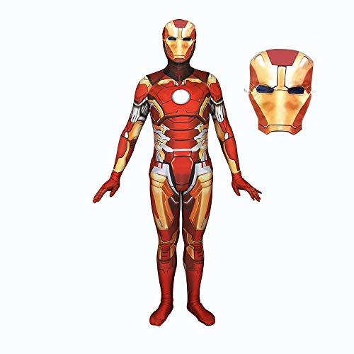 BLL 3D Print Iron Man Rolle Spielen Siamesen-Strumpfhosen Halloween Kostüm mit Maske