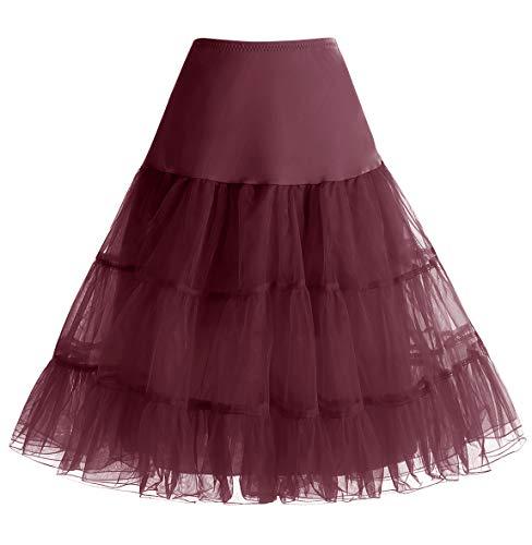 Homrain Damen 50er Vintage Petticoat Rockabilly Unterrock Mini Kleid Burgundy M