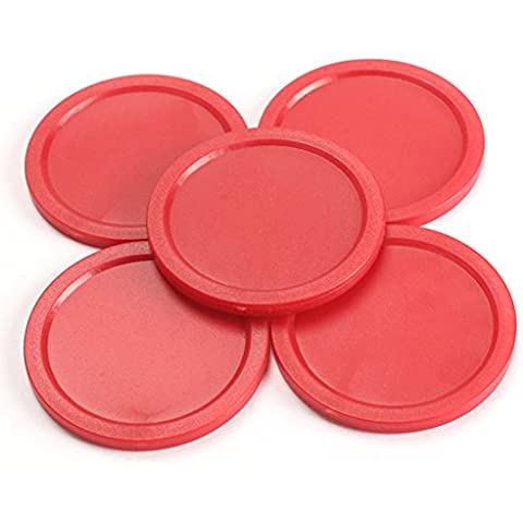 SaySure - 5Pcs Red 2-inch Mini Air Hockey Table Pucks 50mm Puck Children