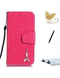 TOUCASA Huawei Honor 6A Handyhülle,Huawei Honor 6A Hülle, Brieftasche Flip case Halterung Kartenfächer extra Dünn Klapphülle Silberner Eiffelturm für Huawei Honor 6A(Pink+ Gratis Touch Stylus Pen