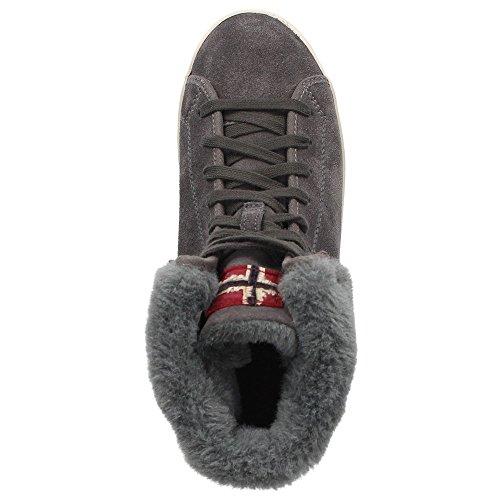 Napapijri Asta 0774760-051 Mädchen Damen Leder-Winterschuhe Sneaker Warmfutter Grau Antracite