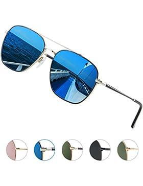 Elegear Gafas Aviador Hombre 2018 Gafas de sol Aviator Polarizadas Cuadrado, Marco de acero inoxidable, Protección...