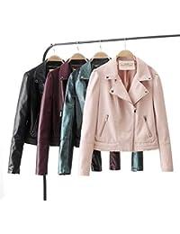 dcf2130991 Pteng Damen Winddicht Fliegerjacke Leder Jacke Frauen Stylisch Bomberjacke  Cool Coat Langarm Casual…