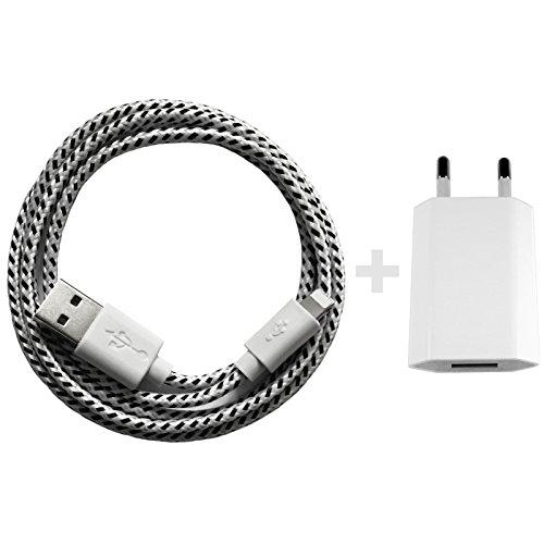 USB Netzteil 5V 1A + 2m Nylon USB Ladekabel Datenkabel Set Kompatibel mit [Apple iPhone 10 X 8 8 Plus 7 7 Plus 6S 6S Plus 6 6 Plus 5S 5C 5 SE, iPad | iPod] weiß