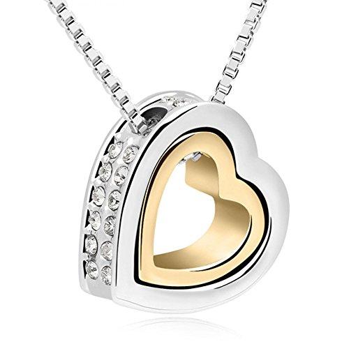 mysecrets Damen Kristall Halskette mit Herz Anhänger Collier