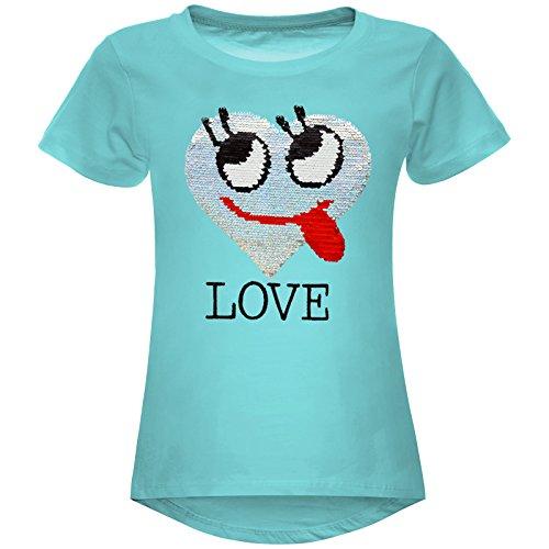 BEZLIT Mädchen Wende-Pailletten T-Shirt Herz Love Motiv 22605 Grün Größe 116