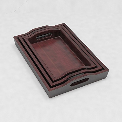 Decornation Solid Wood Creative Serving Tray Set Of 3 Trays With Handles...