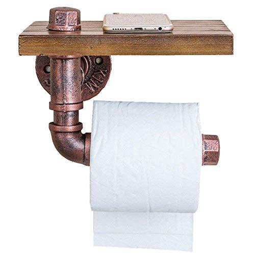 Preisvergleich Produktbild Vintage Toilettenpapierhalter Iron + Wood Perfect Toilettenpapierhalter Hotel Badzubehör Wandhalterung mit Smartphone-Halter Komplettes Zubehör