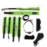 Party Sports Sex Toys Adult Games Sex Bondage 8Pcs/Set Leather Handcuffs Gag Whip Mask Erotic Toy Fetish Adult Sex Restraints Sex Toy for Couples PVC Black and Green