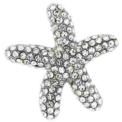 &Brosche Swarovski-Kristall Seestern Silber
