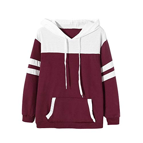 Damen Hoodie, VEMOW Langarm Sweatshirt Pullover mit Kapuze Einfarbig Tops Bluse(X1-Weinrot, 38/L)