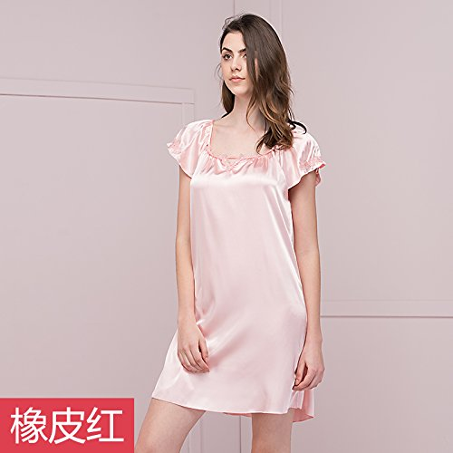 Pyjama de dentelle Ladies court ¨¤ manches longues Poly/coton Nightdress mode ¨¦t¨¦ Accueil jupe robe Rubber Red