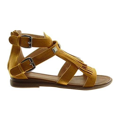 Angkorly Chaussure Mode Sandale Spartiates Femme Frange Clouté Boucle Talon Bloc 2 cm Moutarde