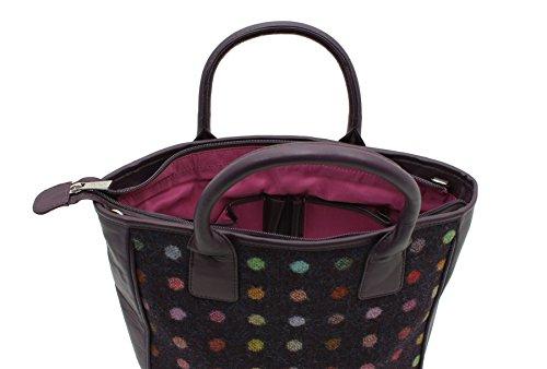 Borsone Mala Leather Collezione ABERTWEED in Pelle e Tweed 728_40 Punto di prugna Punto di prugna