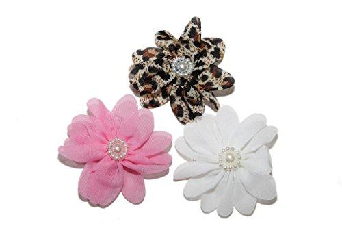 Lux Accessories - Blume Floral Haarspangen-Set Weiß Rosa Leopard Floral Faux Faux-Perle (Designs-snap Floral)