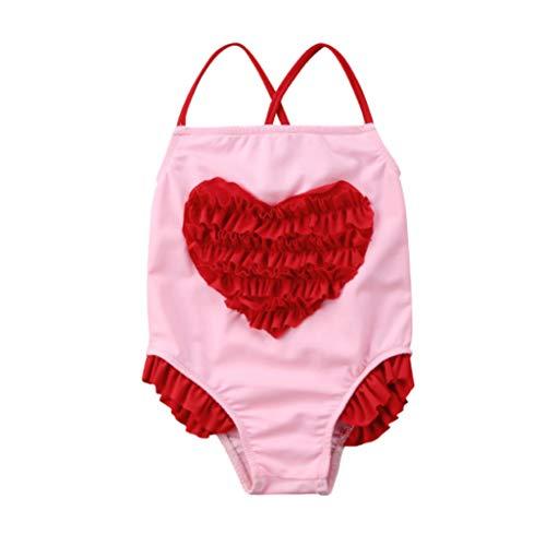 by Mädchen Einteiler Badeanzüge Ärmellos Sling Badebekleidung Herz Bademode Bikini Strandkleidung, für 0-3 Jahre Baby Kinder ()