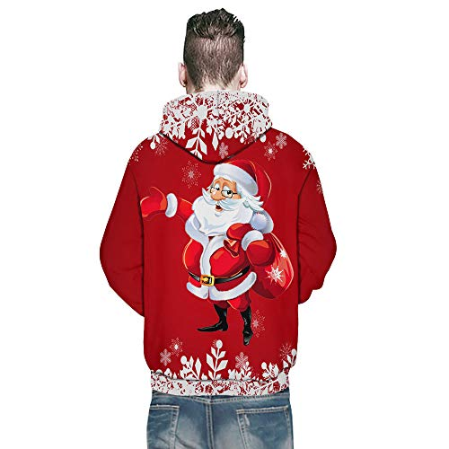 KPILP Sweatshirt Herren Kapuzenpullover Weihnachten Frauen Paar Casual 2018 3D Druck Langarm Shirt Tuniken Hoodies Herbst Winter …(B-rot,EU-56/CN-XL